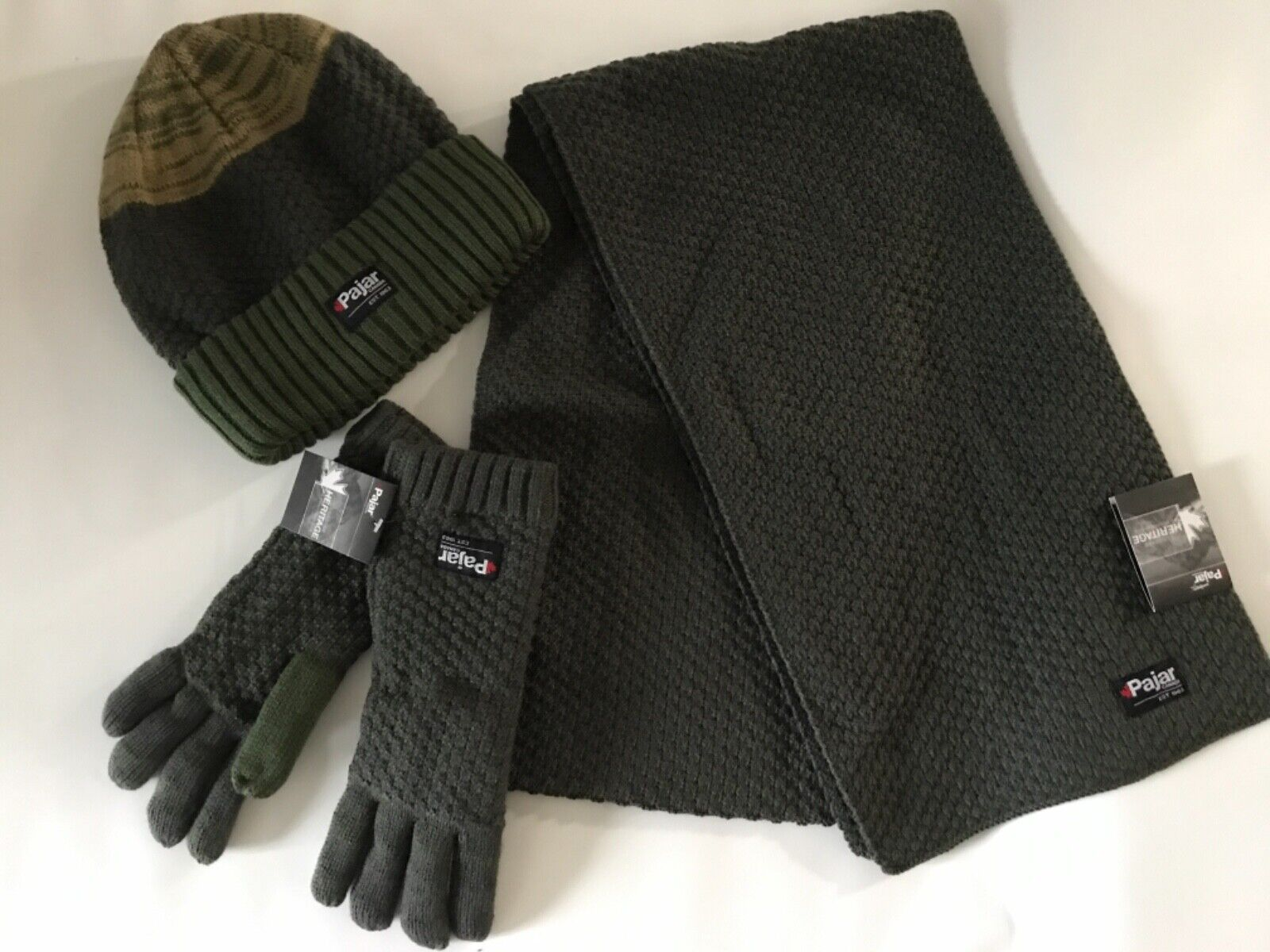 PAJAR Military Green 3 PIECE Knit Winter SCARF Lined Gloves & Beanie HAT SET NEW