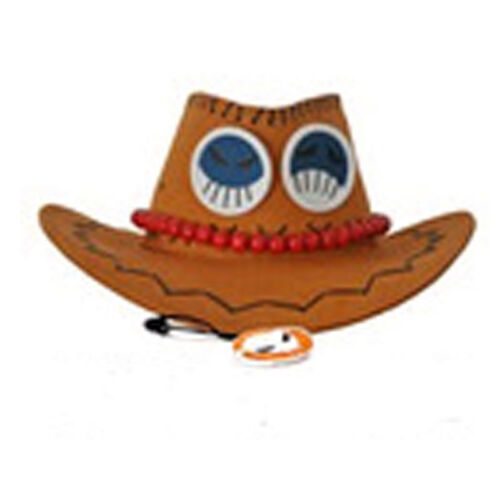 1PC Anime One Piece Portgas·D· Ace Cowboy Hat Cosplay Hats Pirates Cap Suede