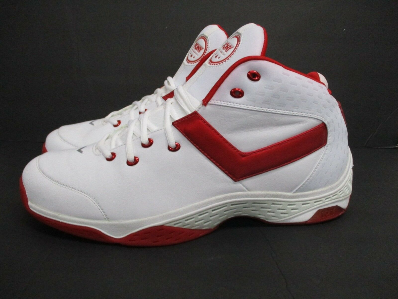 New in Box  Pony Men's EKG High Top White Red Size  17