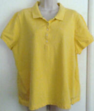 Women's IZOD yellow stretch 5-button short-sleeve polo shirt 2X embroidered logo