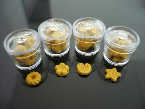 4 Cookie of Canister Plastic Remove Lid Dollhouse Miniatures Food