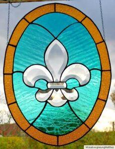 Bleiverglasung-Fensterbild-Facetten-Lilienmedaillon-in-Tiffany-Technik