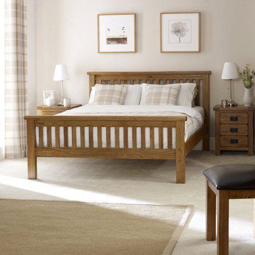 Rustic Oak 6ft Super King Size Bed High Foot Board Solid Bedroom Furniture Rs39 Ebay