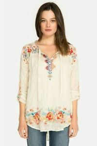Johnny-Was-Gina-V-Neck-Long-Sleeve-Embroidered-Tunic-Top-C11918-NEW