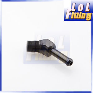 "45 Degree 1/8"" NPT TO 1/4"" Barb adapter fittings Aluminum black"