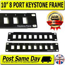 "10"" 8 Port Keystone Patch Panel Frame 1U  Data Network Switch, Cabinet SOHO Rack"