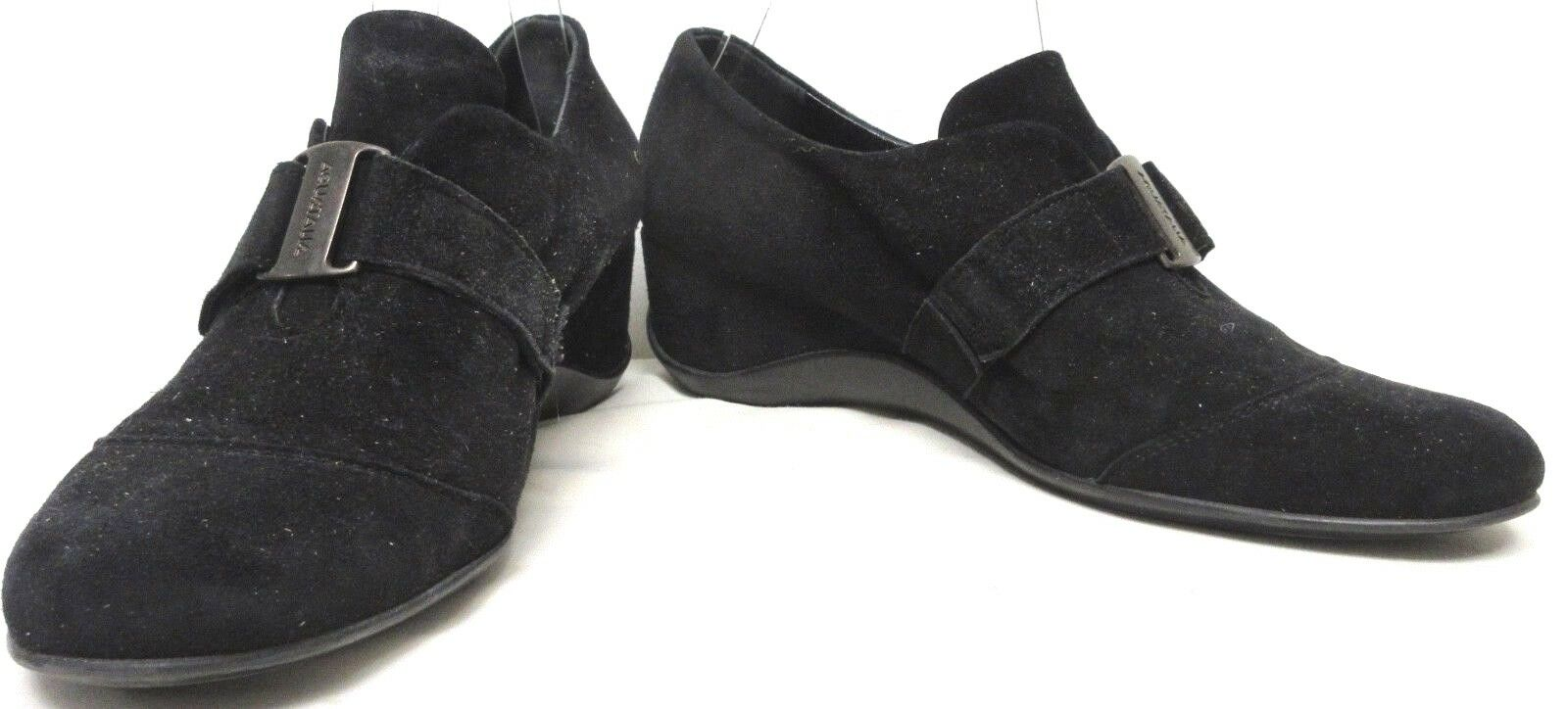 AQUATALIA SPORT CASUAL SHOES WEDGE HEEL BLACK SUEDE SLIP ON W ADJUSTABLE SZ 39