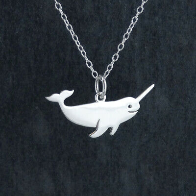FashionJunkie4Life Sterling Silver Whimsical Smiling Whale Pendant Necklace 18 Chain