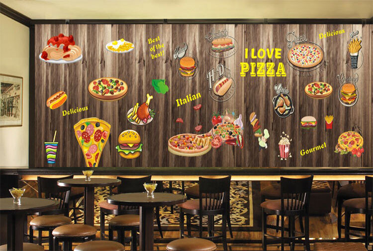 3D Pizza Fast Food Graffiti Wall Paper Print Decal Wall Deco Indoor wall Mural
