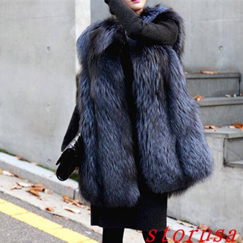 Damen pelzmantel Winter Warm Kapuze Lang Fit waistcoat Ärmellos Coat Outwear neu