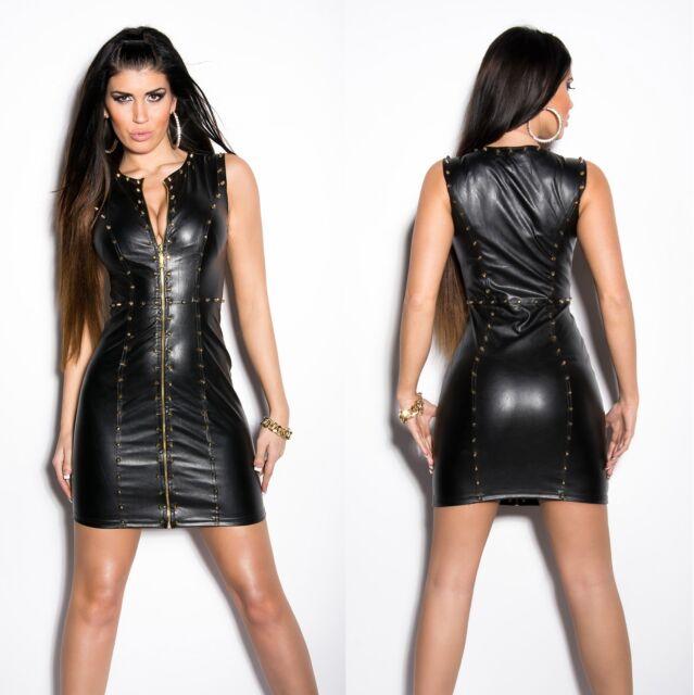 Women's Sexy Studded Faux Leather Mini Dress - S / M / L