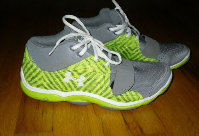 Men's UA Micro G Renegade Athletic Training Mid Training Shoes Grey/Green Sz 8.5