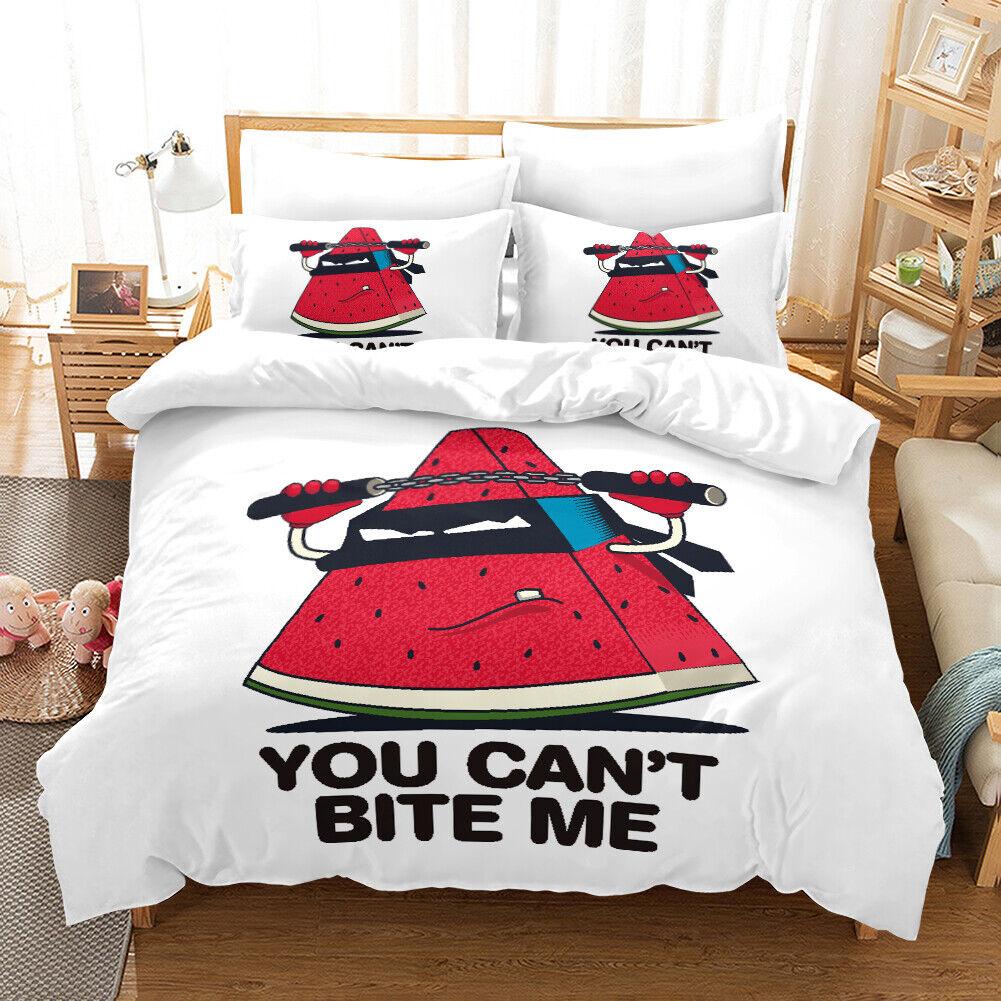 3D CKunstoon Watermelon Quilt Startseite Set Bettding Duvet Startseite Single Königin König 282