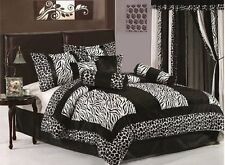 8-Piece Black/White Micro Fur Zebra Giraffe Comforter Set Bed-In-A-Bag Queen