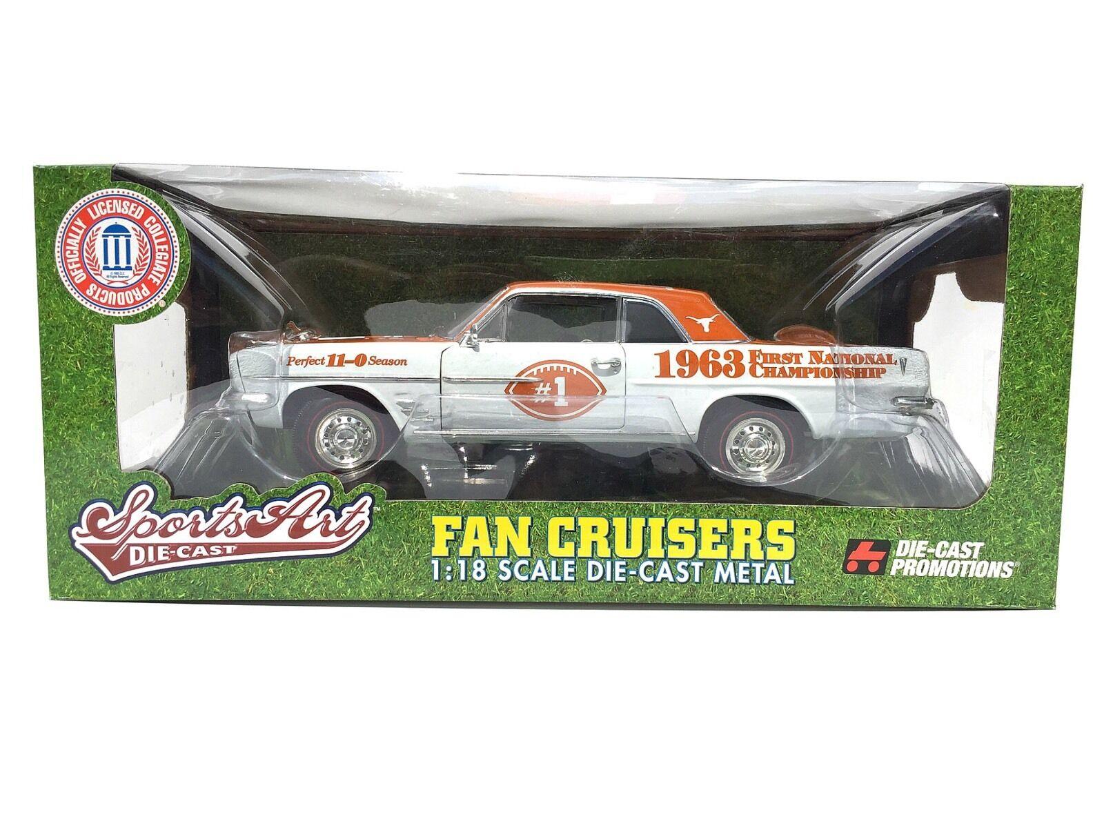 ERTL Fan Cruisers 1963 PONTIAC TEMPEST Texas Longhorns Die cast voiture échelle 1 18