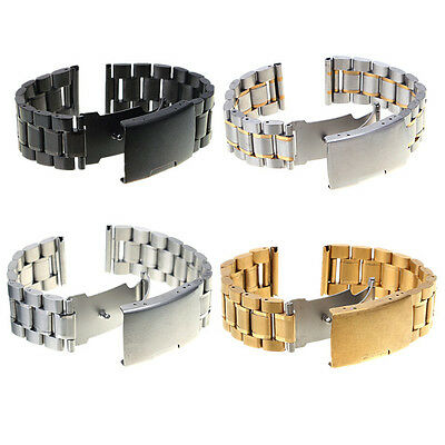 18-22mm Stainless Steel Watch Band Strap Side Push Button Clasp Buckle Bracelet