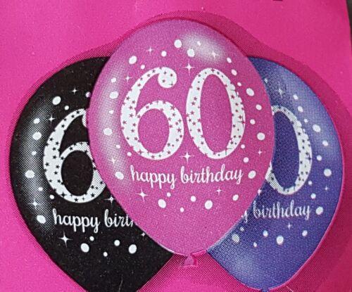 PACK OF 6 PINK PURPLE /& BLACK 60TH HAPPY BIRTHDAY BALLOONS