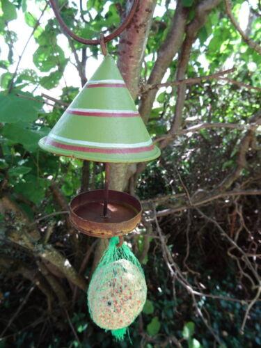 Vogelfutter Hänger mit Dach Vogel aus Metall Futter grün,für Meisenknödel