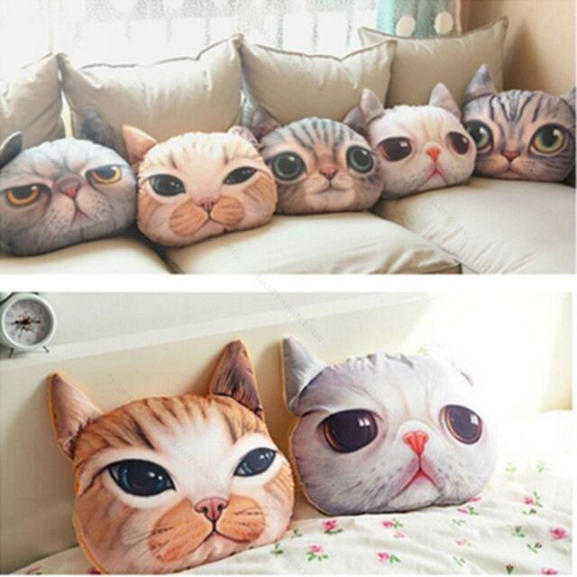 3D Cute Cat Dog Face Throw Pillow #B Decor Cushion Toy Doll Soft Foam Particle