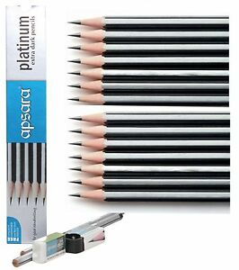 APSARA-HB-PENCILS-EXTRA-DARK-WITH-NON-DUST-ERASER-amp-SHARPENER