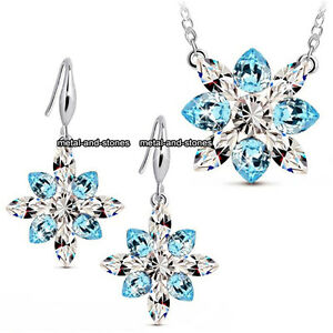 Frozen-Xmas-Gifts-For-Her-Snowflake-Blue-Crystal-Necklace-Silver-Love-Girl-Women