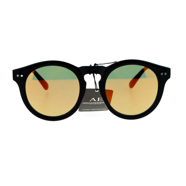 a535e70ca65b5 SA106 Flat Color Mirror Lens Horn Rim Keyhole Retro Round Hipster Sunglasses