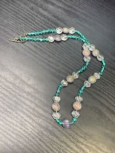 Vintage Bohemian Aqua Clear Art Glass Beaded Bib Statement Necklace 22""