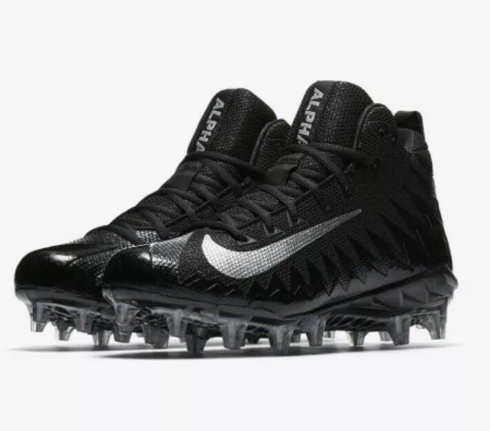 NIKE ALPHA MENACE PRO MID FNL FOOTBALL CLEAT Holographic Black Silver Size 10