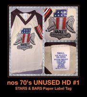 Vtg 1970s HD #1 Harley Davidson Motorcycle THIN PAPER LABEL Evel Knievel t-Shirt