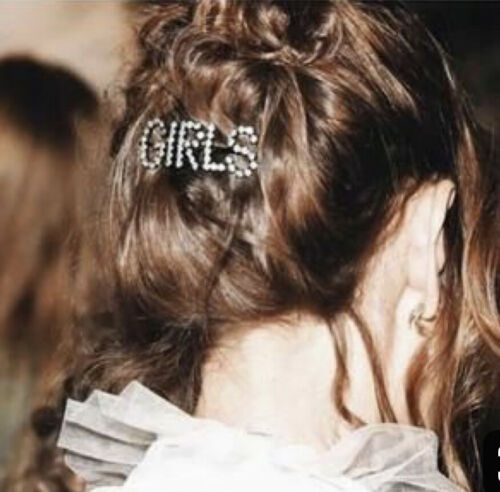 Ladies girls Hair clip words Diamante Letters silver accessory Love Happy Kiss