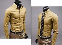 Fashion Mens Luxury Stylish Casual Dress Slim Fit Long Sleeve T-Shirts 17 Colors