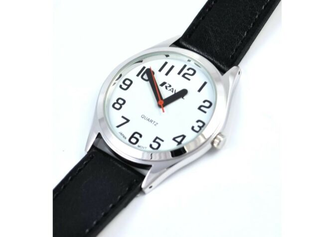 Ravel Mens SUPER BOLD BIG NUMBERS Watch Easy Read White Face Black Strap.