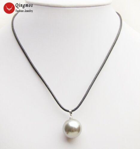 18 mm rond gris coquillage perle Collier pendentif pour femme Bijoux nec6487
