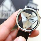Fashion New Womens Leather Band Stainless Steel Quartz Analog Wrist Watch