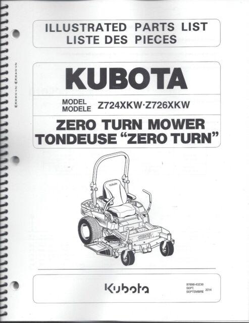 Kubota Z724xkw Z726xkw Zero Turn Mower Illustrated Parts Manual