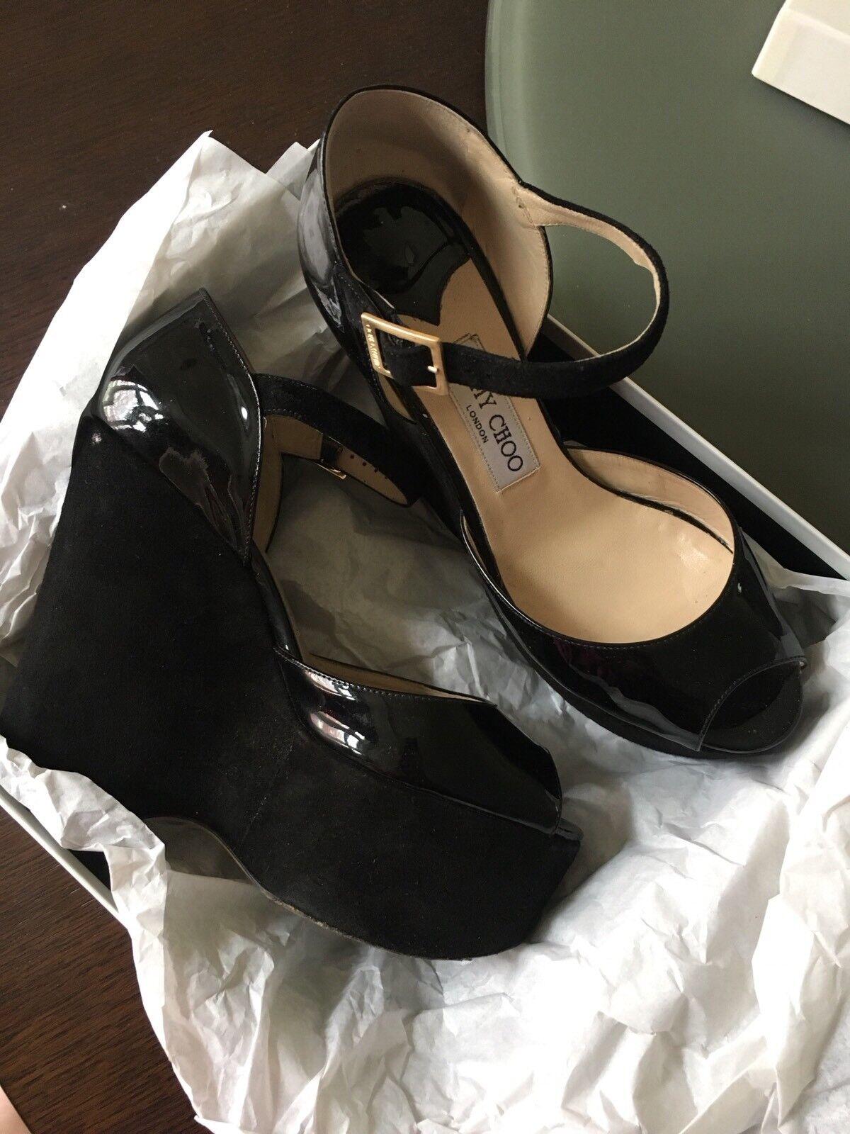 Descuento de liquidación Jimmy Choo Platform Sandals Size 38 Suede Patent Leather