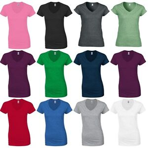 cacb70c49ac3 Ladies Women Gildan Softstyle Plain Cotton V Neck Short Sleeve T ...