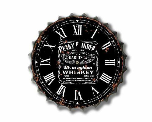 New retro vintage metal bottle top wall clock 30cm peaky