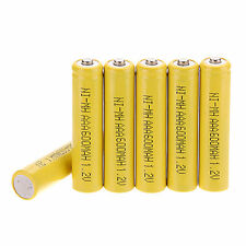 Lot of 6Pcs AAA 3A 600mAh 1.2 V NI-MH rechargeable battery Set Yellow Color