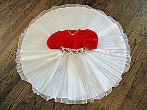 Vtg-I-LOVE-YOUNGSPORT-Dress-Sz-4-Girls-Red-Velvet-Bodice-White-Tulle-Skirt-EUC