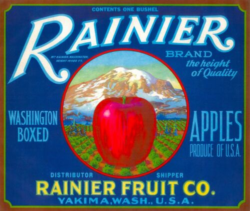 Mount Rainier Apple Apples Fruit Crate Label Print Blue Yakima Washington Mt