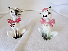 """SHAFFORD JAPAN PINK BOW TIE CAT SALT AND PEPPER SHAKERS APPROX 4 1/4"""" TALL"""