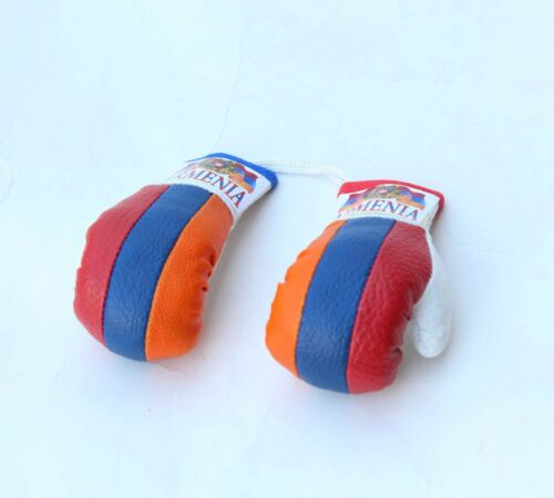 Small  Boxing Gloves Armenian Flag  for Car mirror Mini keychain boxing gloves