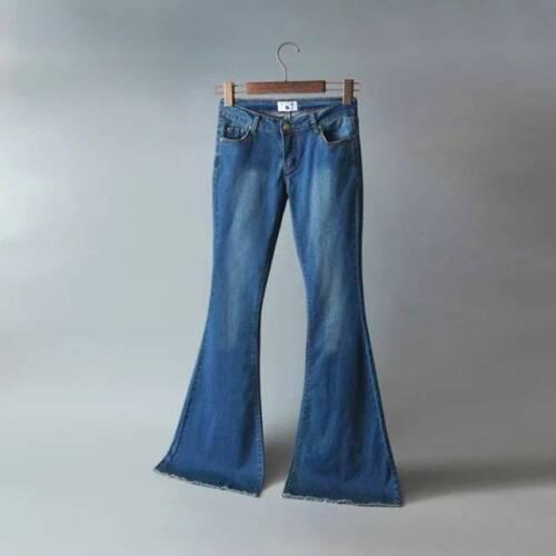 Women Flare Denim Jeans Bell Bottom Stretch Pants Skinny High Waist Trouser Plus