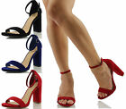 Delicious Women's Shiner Open Toe Ankle Strap Chunky Block Heel