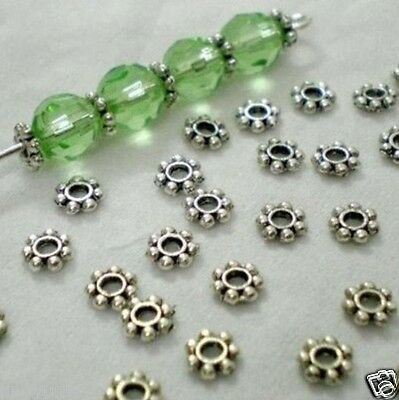 600pcs Tibetan Silver Daisy Spacer Metal Beads Charms 4mm ~Jewelry Making~