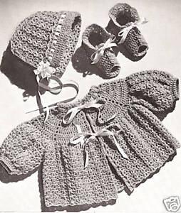 Vintage Baby Cap Hat Sacque Bootie Crochet Pattern set*