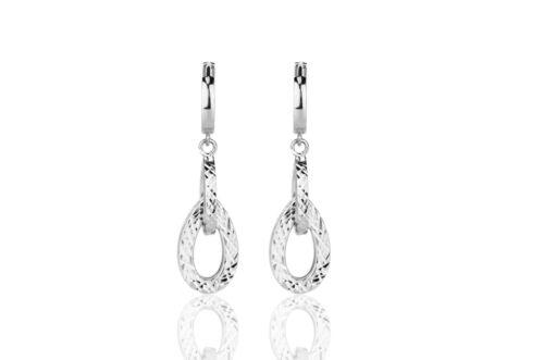 Rose  Gold Diamond Cut Doble Drop  Huggie Earrings White 14k Yellow