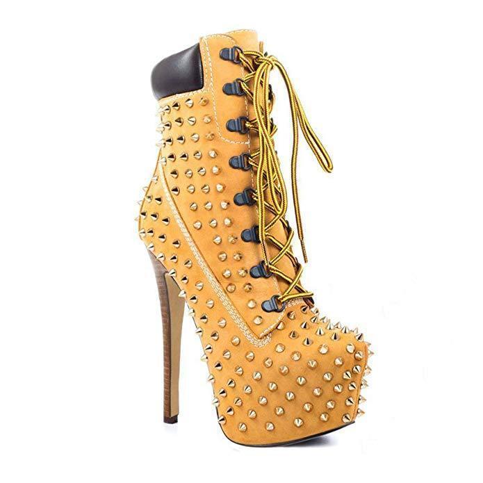deportes calientes Para mujeres Damas Moda Punta con Cordones Cordones Cordones Plataforma botas al Tobillo Zapatos Taco Alto Lita  increíbles descuentos