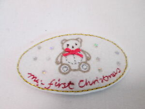 Handmade Christmas Card Embroidered Oval My First Christmas Patch Badge #8F35